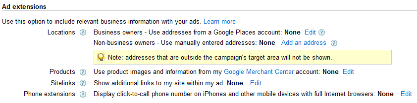 AdWords sitelinks settings