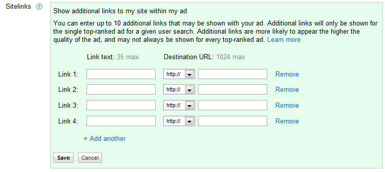 AdWords sitelinks interface