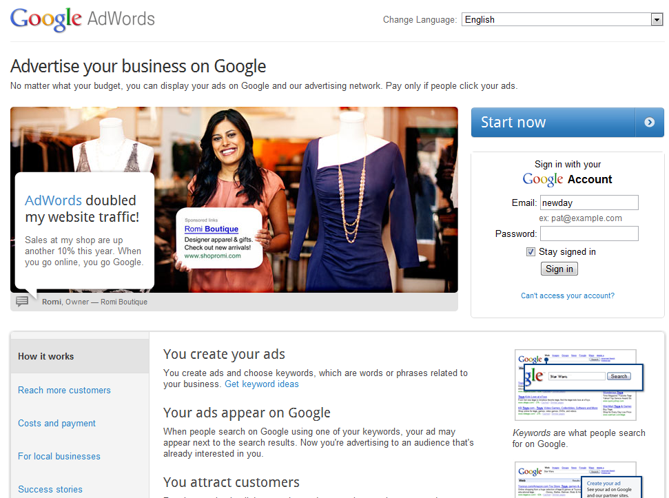 New AdWords Login Page