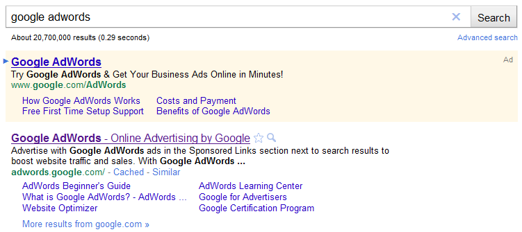 Google AdWords SERP