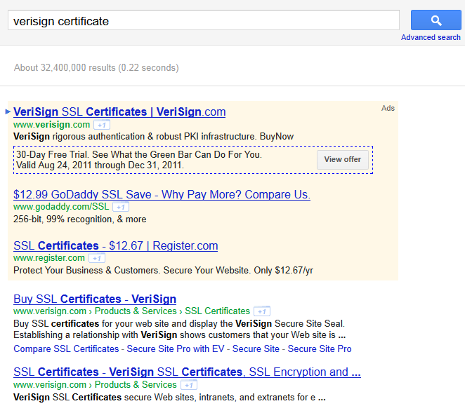 Verisign certificate search results page