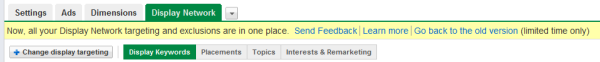New AdWords Display Network Tab