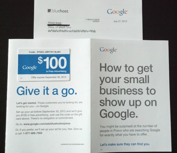 AdWords Direct Mail Piece
