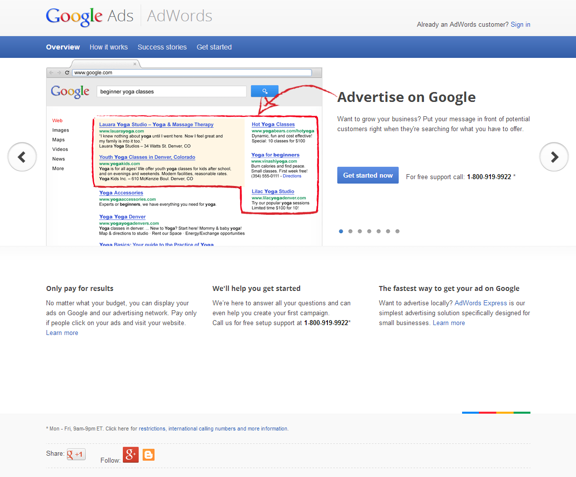 New AdWords Homepage Design