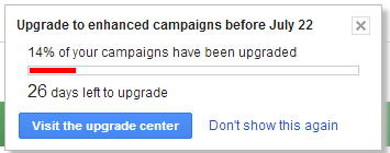 Enhanced Campaigns Upgrade Countdown