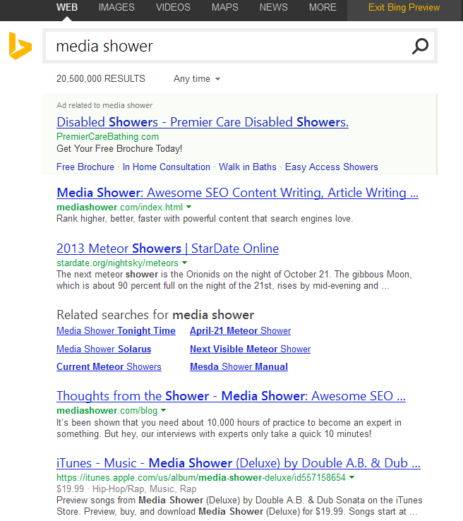 Media Shower Bing SERP