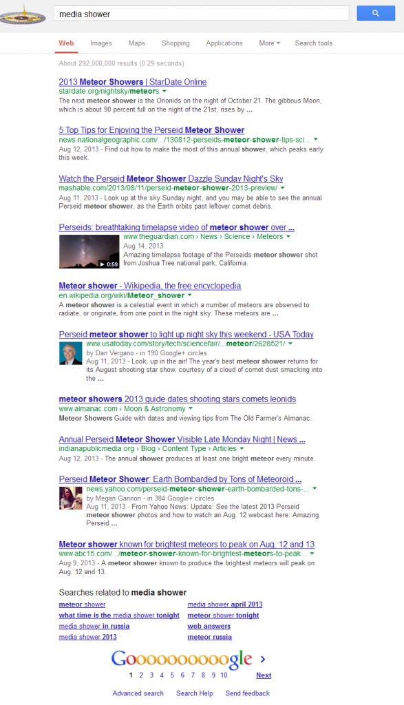 Media Shower Google SERP